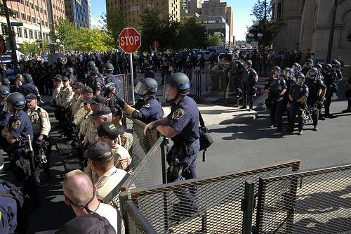 Police in riot gear in St. Paul