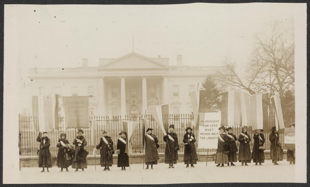 Suffragists protest at the White House