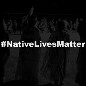 #NativeLivesMatter in white text on black background