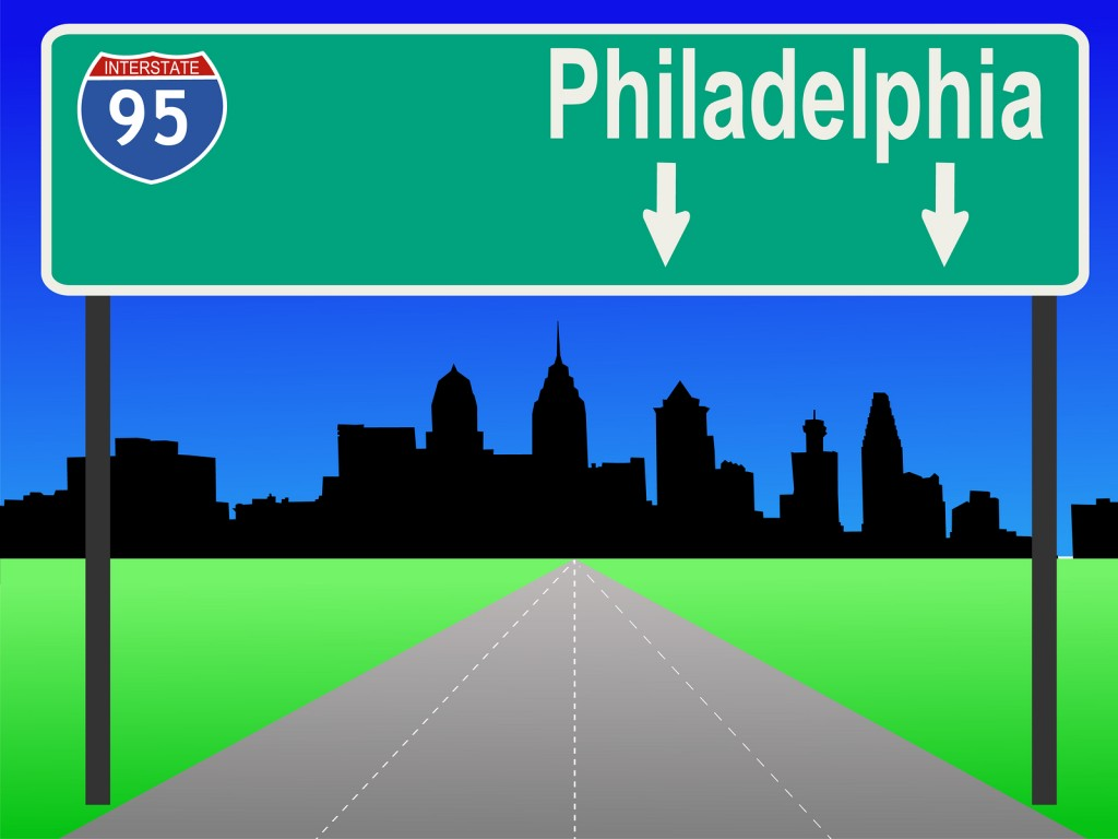 Philadelphia skyline with interstate 95 sign illustration