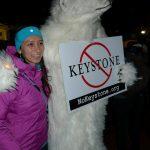 Keystone pipeline protester dressed as a polar bear