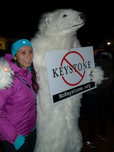 Keystone pipeline protester dressed as a polar bear