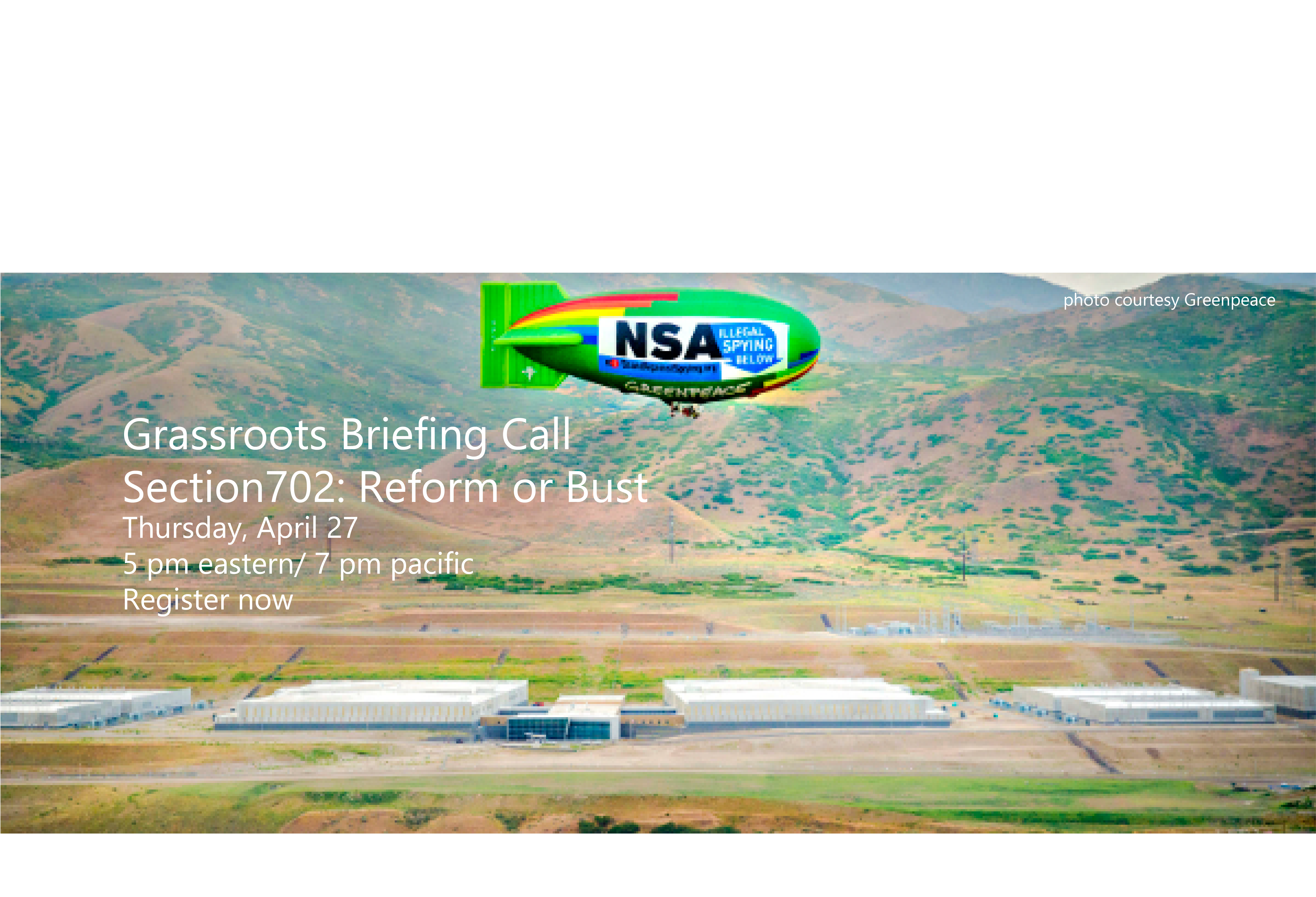 Greenpeace blimp above NSA data center