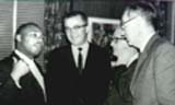 Dr. King, Frank Wilkinson, Carl Braden and unknown the night before Wilkinson and Braden entered jail