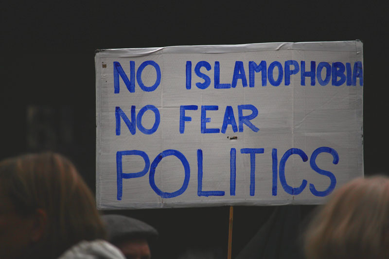 No Islamophobia Protest Sign