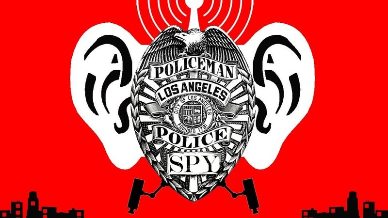 LAPD badge with giant ears which is the logo of the Stop LAPD Spying Coalition