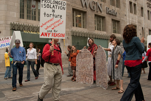 protesters against solitary confinement picket in Chicago, Illinois
