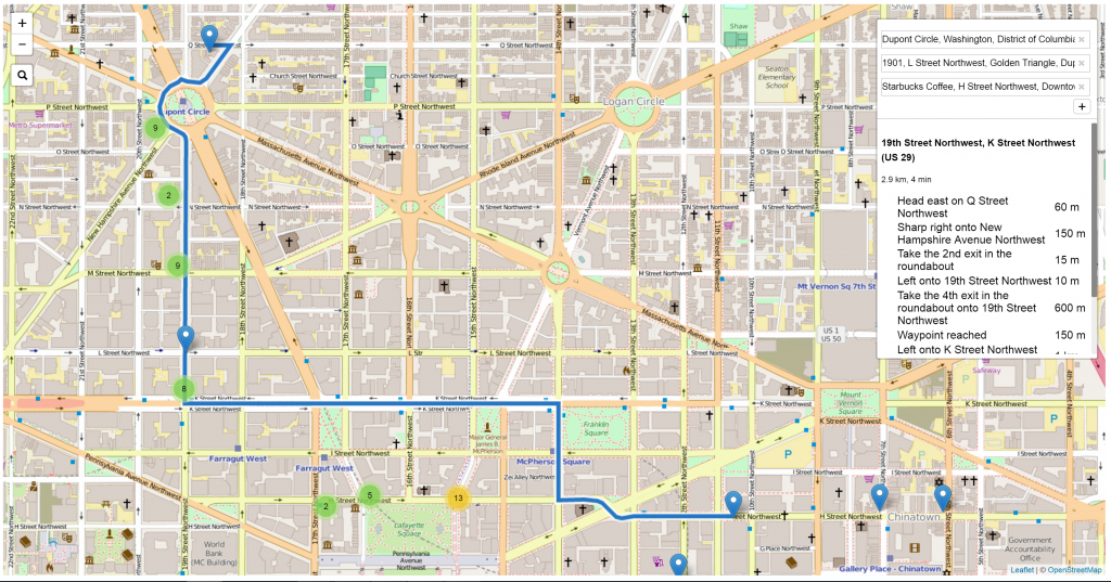 image is a screenshot from activism.tech showing how to find the number of surveillance cameras on a planned route