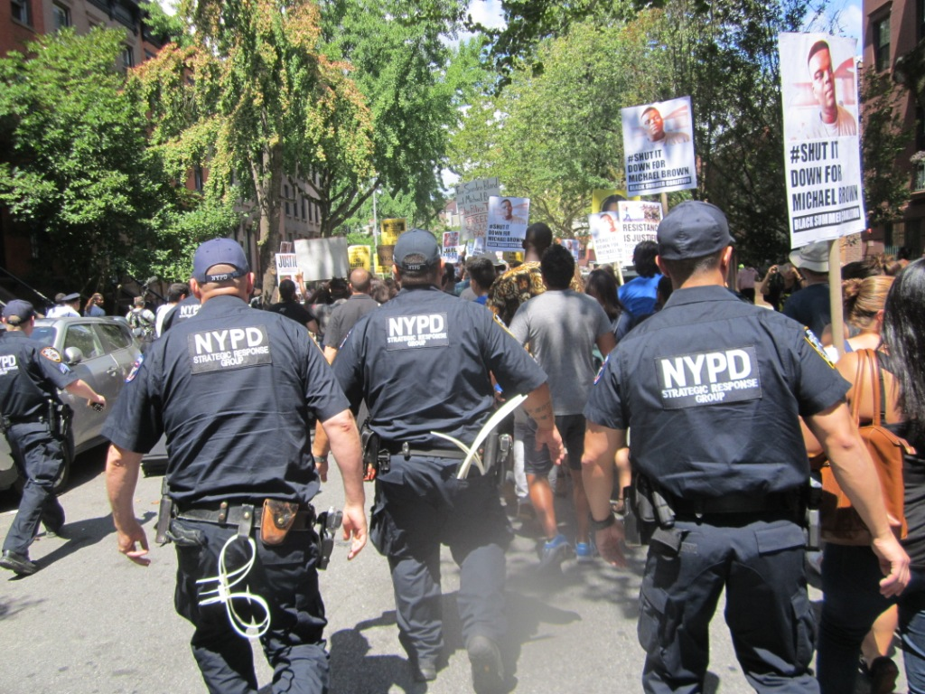 NYPD officers at a #BlackLivesMatter protest in NYC