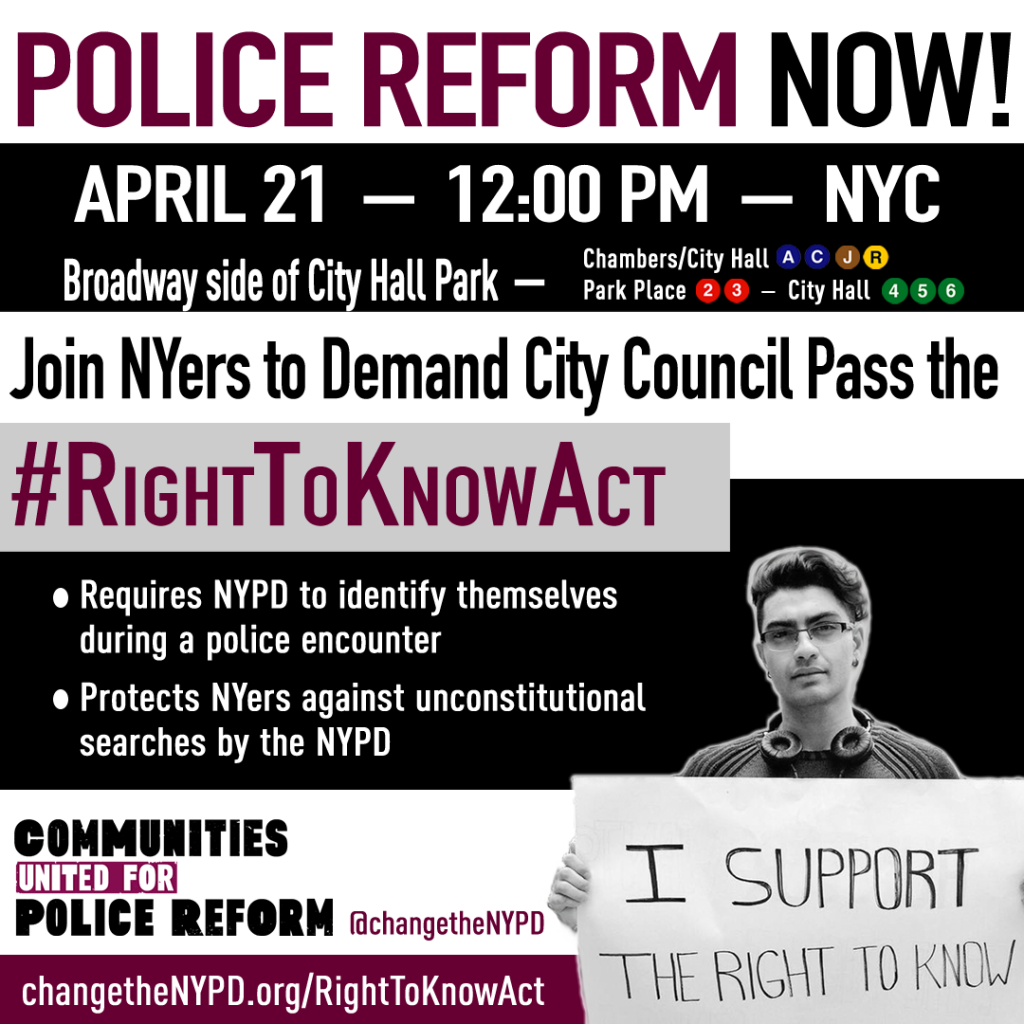 flyer for the Right to Know Act rally