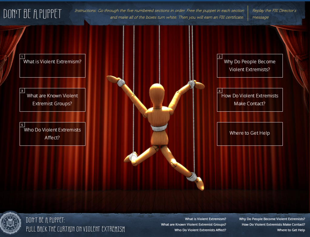 "a wooden puppet in front of a red curtain is portrayed on the homepage of the FBI's ""don't be a puppet"" website"