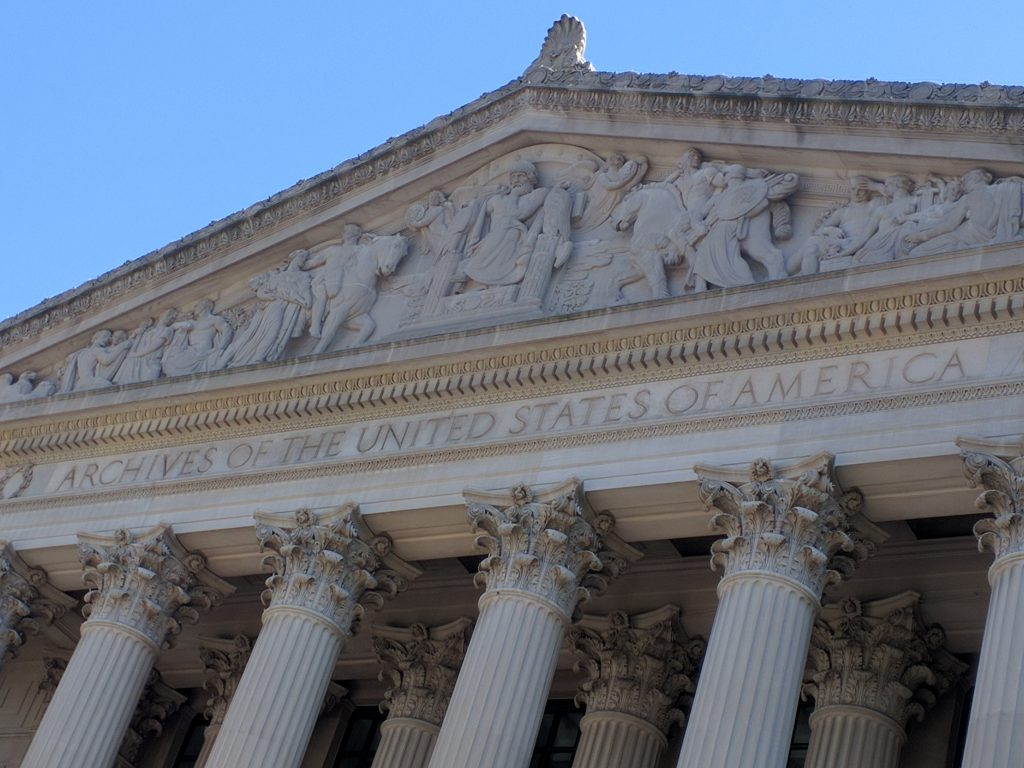 the facade of the Archives of the United States building