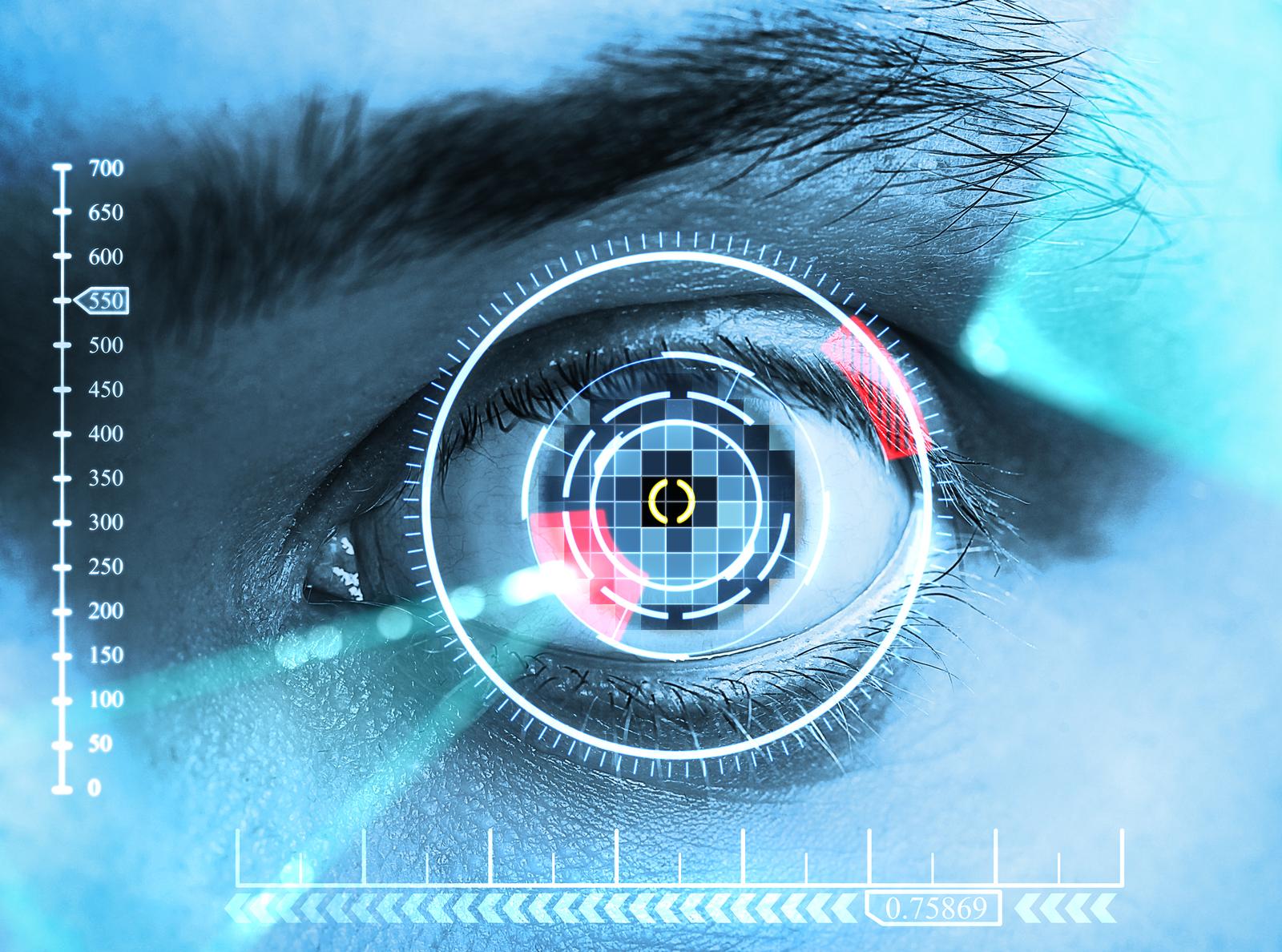 laser scanning eye. blue tone, close up