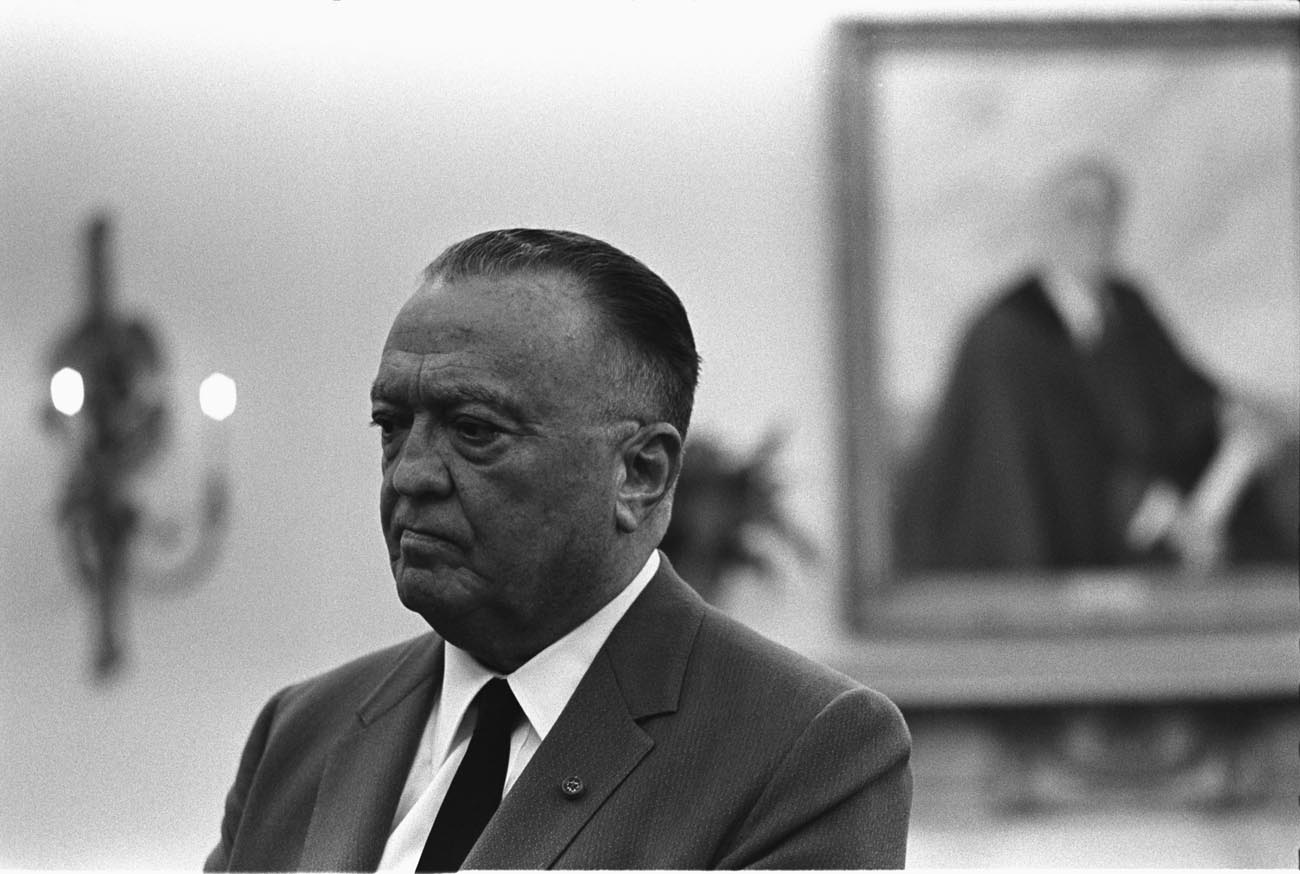 black and white photo of J Edgar Hoover