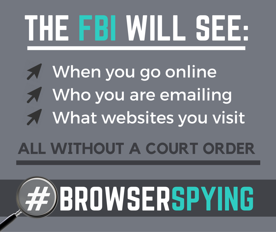 #browserspying graphic describes what the fbi will be able to get without a warrant: browser history, email and chats