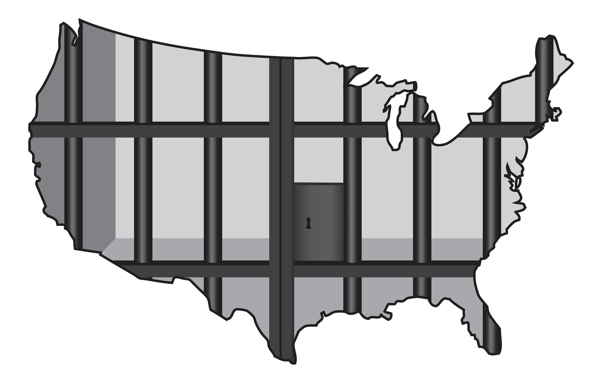 a prison cell in the shape of the map of the US