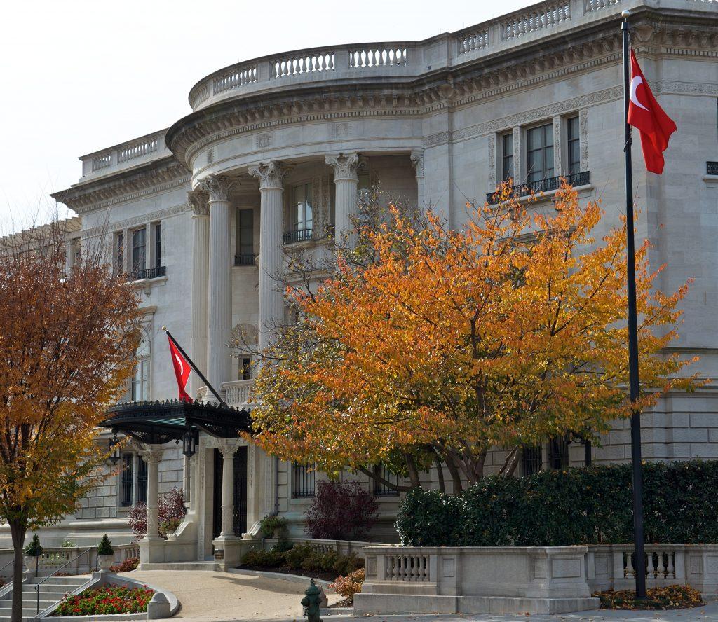 impressive large white mansion, home of turkish ambassador