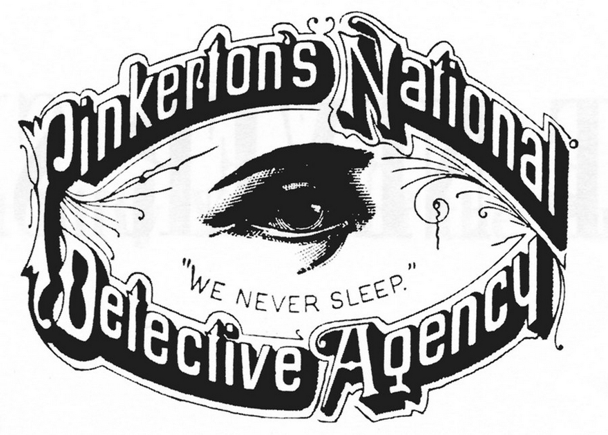logo of pinkertons national detective agency which is a giant eye