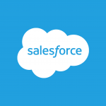 salesforce logo, a cloud on background of blue