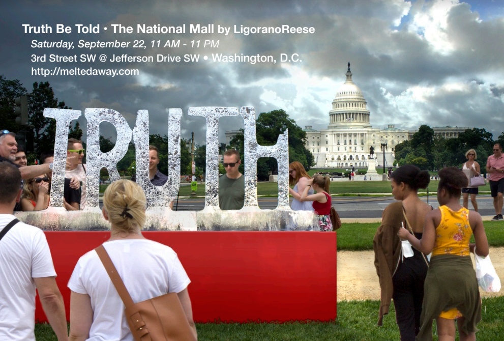 "a giant ice sculpture of the word ""truth"" melts with the US Capitol in the background"