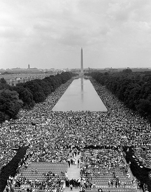 iconic image of a sea of protesters on the National Mall for 1963 March on Washington