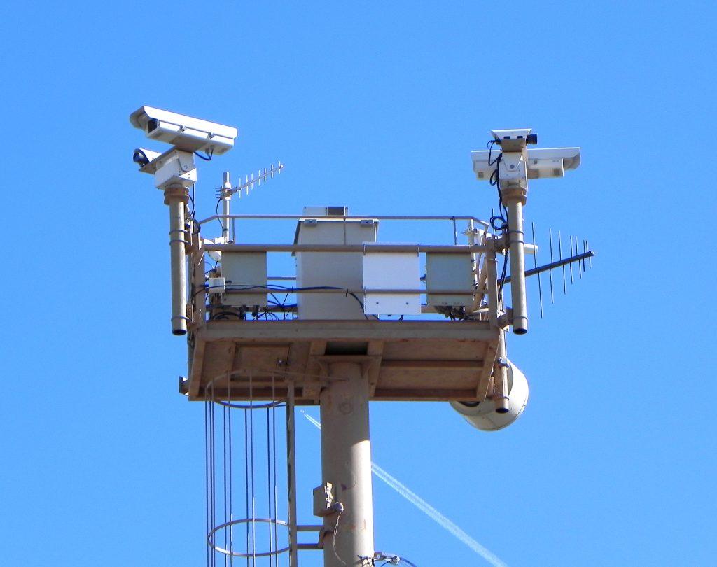 massive tower of surveillance equipment