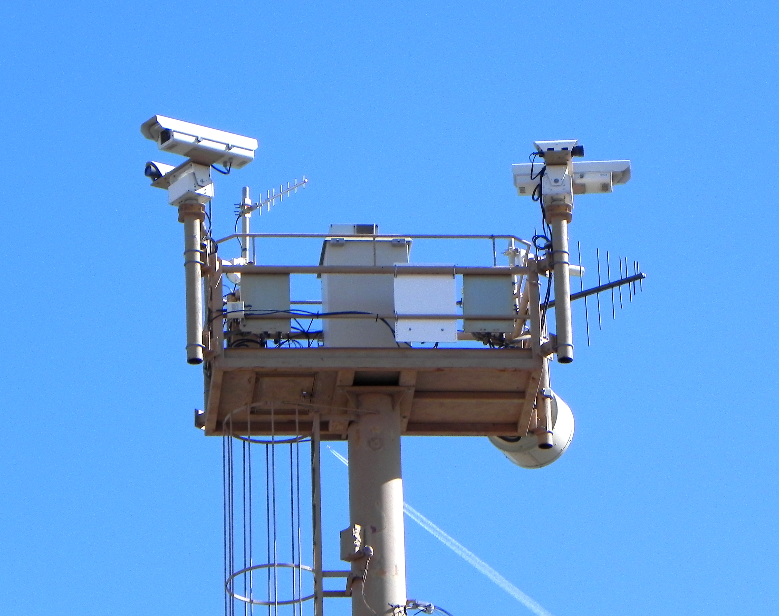 massive tower of surveillance equipment