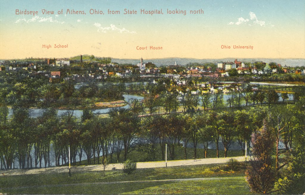 birds eye view of athens ohio from an old postcard