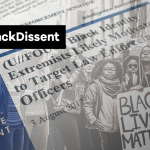 collage of Black protesters and the FBI Black Identity Extremism report
